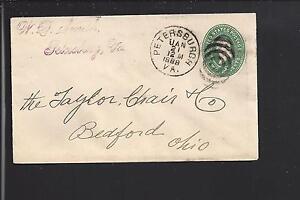 PETERSBURGH-VIRGINIA-1888-2CT-COVER-BULLSEYE-CL-DINNWIDDIE-CO-1782-OP