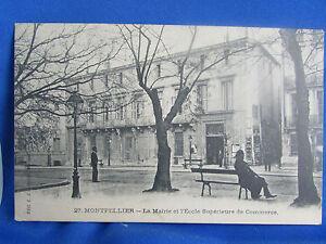 CPA-34-Montpellier-La-Rathaus-und-L-schule-Commerce