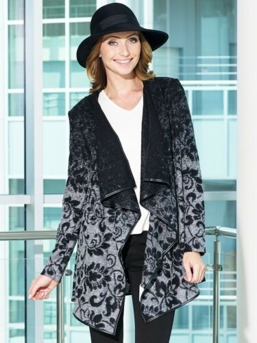 S M Leather L Trim Front Wool Long European Printed Jacket Open Cardigan Sleeve qZnCvwa