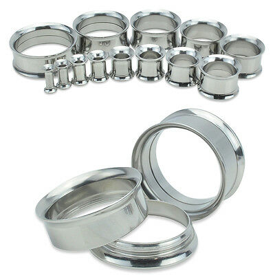 Pair Silver Stainless Steel Tunnels Double Flare Screw Fit Ear Gauges