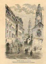 Stampa antica ZURIGO ZURICH scorcio con Hotel Baur Svizzera 1859 Old print