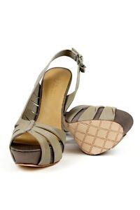 e62c62ee293 L.A.M.B. Women s KAM Taupe Platform Slingback Wooden Heels Sandals ...