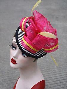 Womens-Sinamay-raffia-Fascinator-Cocktail-Hat-Wedding-Church-Kentucky-Derby-T216