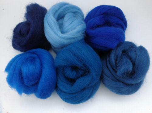needle felting  60g roving MERINO WOOL BLUE SHADES dyed wool tops