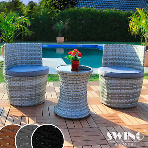 poly rattan sitzgruppe mit tisch f r garten balkon terasse m bel sitzgarnitur ebay. Black Bedroom Furniture Sets. Home Design Ideas