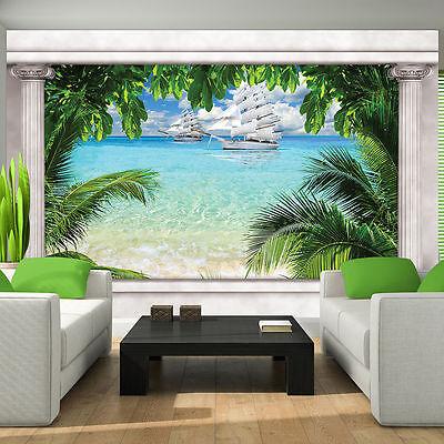 VLIES Fototapeten Tapete Fenster Tropen Palme Schiff Strand Wasser 3FX10632VE