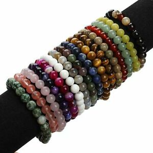 Fashion-8MM-Natural-Gemstone-Beads-Handmade-Stretch-Bangle-Bracelet-Wristband