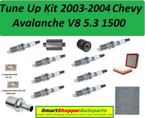 Spark Plugs Air Cabin Filter Belt Tune Up For 2003 2004 Chevy Avalanche V8 1500