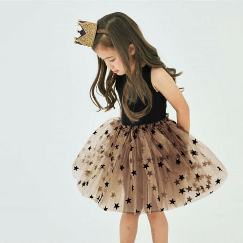 Toddler Kid baby girl summer sans manches Star Tulle Parti Princess Robe Vêtements