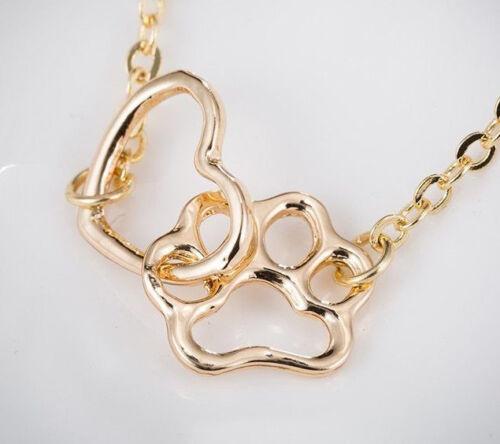ELEGANT PET PAW HEART GOLD /& SILVER TONE CHAIN BRACELET FREE UK P/&P ladies