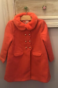 Janie and Jack Girls Cue The Coral Dress Coat Size 5-6 NWT
