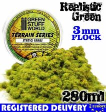 Static Grass Flock 3mm - Realistic Green - 280 ml - Scenery Grass diorama bases