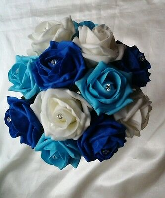 ROYAL BLUE, TURQUOISE AND IVORY ARTIFICIAL FOAM ROSE BOUQUET BRIDESMAID WEDDING