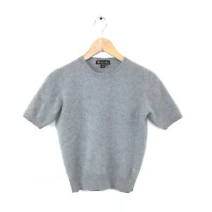 Loro-Piana-Sweater-XS-S-100-Cashmere-Gray-Short-Sleeve-Women-s-Pullover-Top