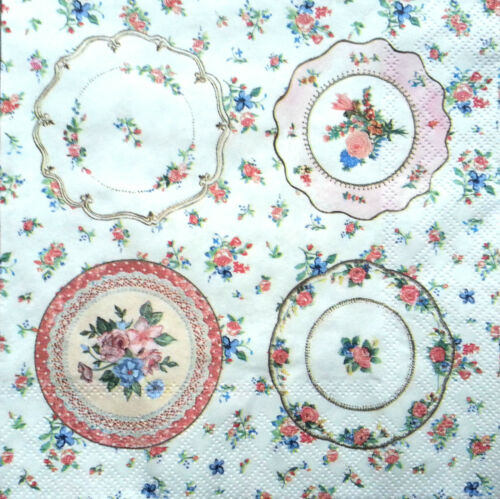 4 x Single Table Paper Napkins Craft Party for Decoupage Floral Plates Art E23