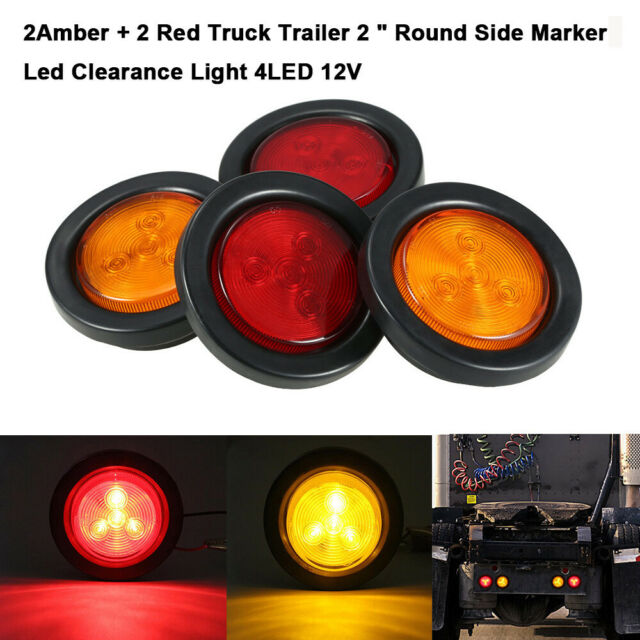 """2X 4/"""" inch 7 LED RED Marker Lights Round Car Truck Stop clearence Tail Lamp 12V"""