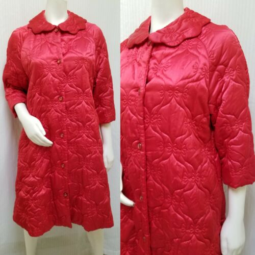 Vintage 60s RHAPSODY GLAZIER Red Satin Quilted Rob