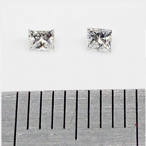 LOOSE DIAMONDS 2x 2.15mm x 2.15mm Princess Cut Natural Diamonds FREE POST