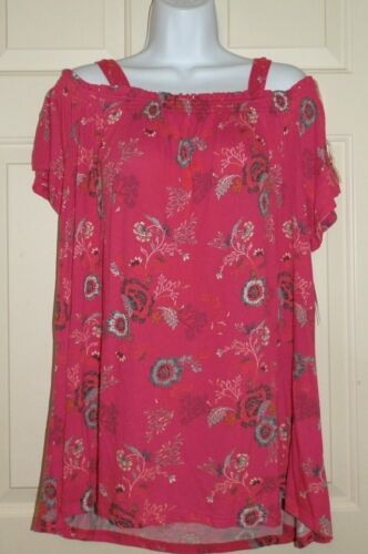 New Womens XL 16-18 Pink Off the Shoulder Top Knit Time and Tru Relaxed Fit