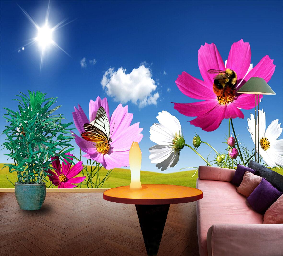3D Flowers Butterfly Bee 17 Wallpaper Decal Dercor Home Kids Nursery Mural  Home