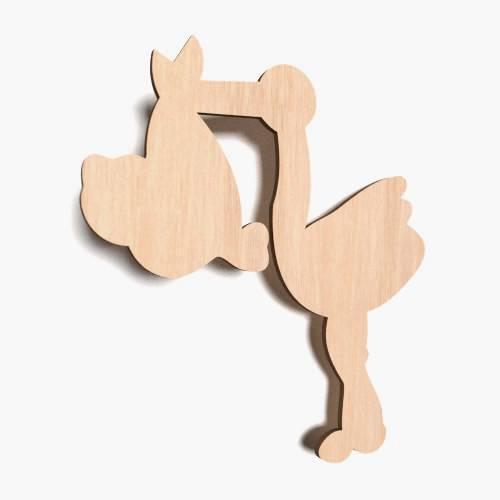 10x Storch Baby Geburt Kind blank Form Holz Basteln Hängedeko Dekoration (X76)