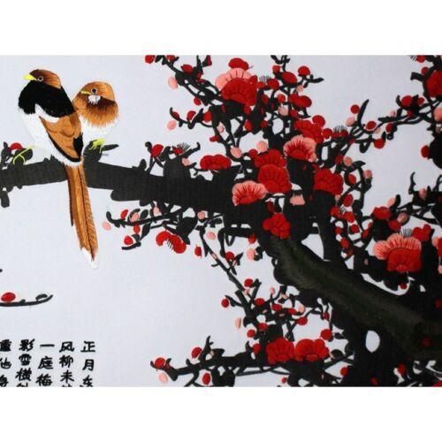 """chinesische Stickerei Stickbild Stoffbild /""""Vogel im Pflaumenbaum/"""" Stickkunst"""