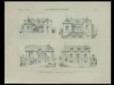 BOIS LE ROI, BROLLES, VILLA - 1898 -PLANCHE ARCHITECTURE - CASIMIR LECLERE