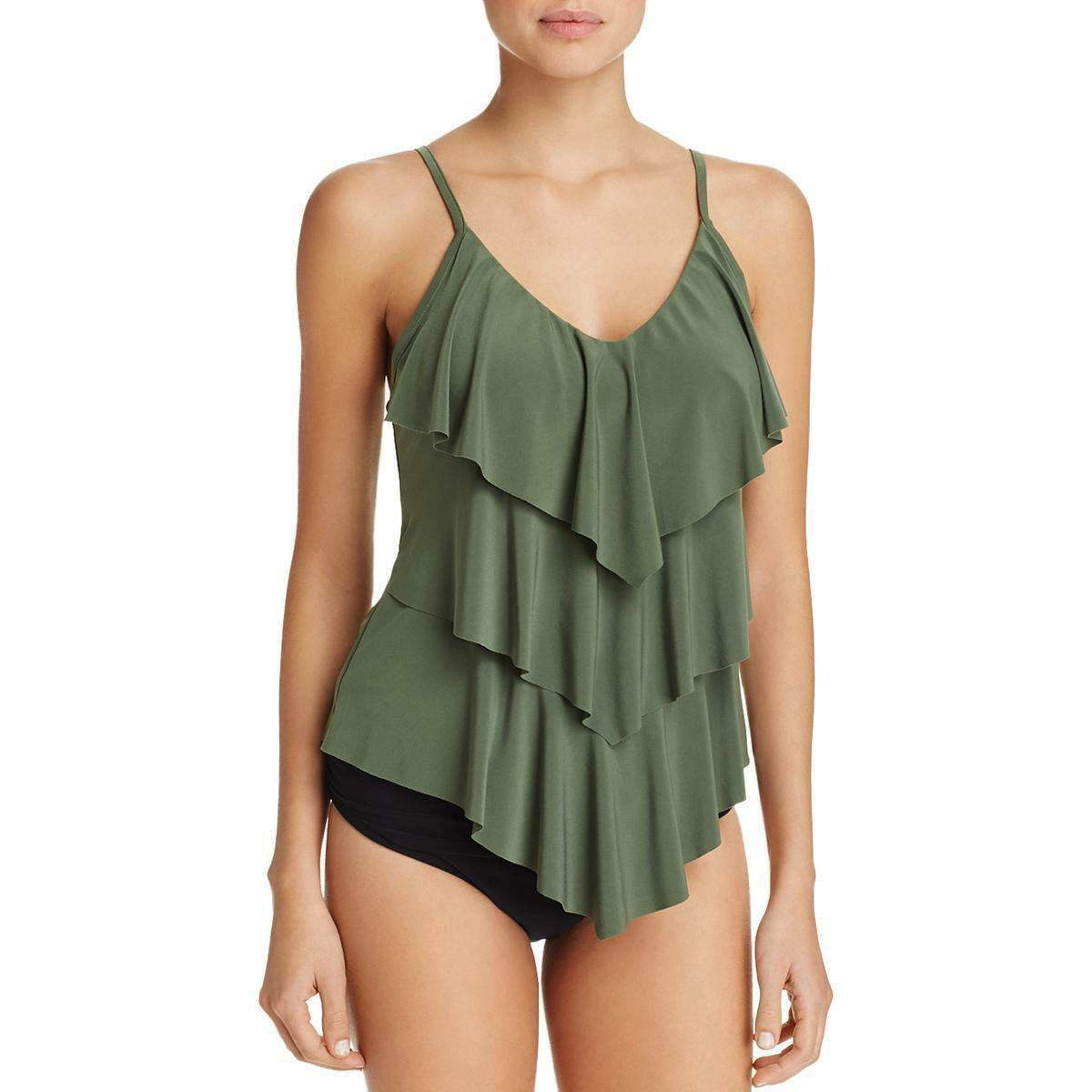 New Magicsuit Miraclesuit Tankini Rita 10 Green Tiered Ruffled 2 Piece Slimming