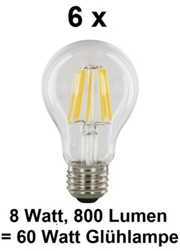 Klarglas Warmweiß ~60 Watt Glühbirne E27 6 x 8 Watt FADEN FILAMENT LED Birne