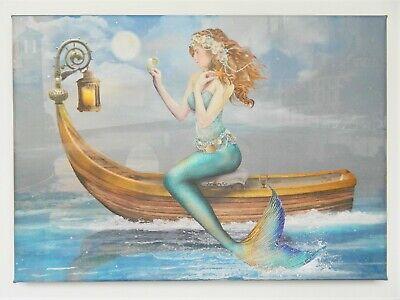 Mermaid On Boat Canvas Print Wall Art Watercolor Style Fantasy New Ebay