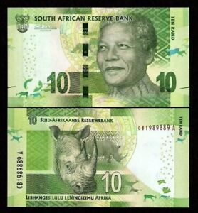 SOUTH AFRICA 10 Rand, 2014, P-138, Nelson Mandela/Rhino, UNC World Currency