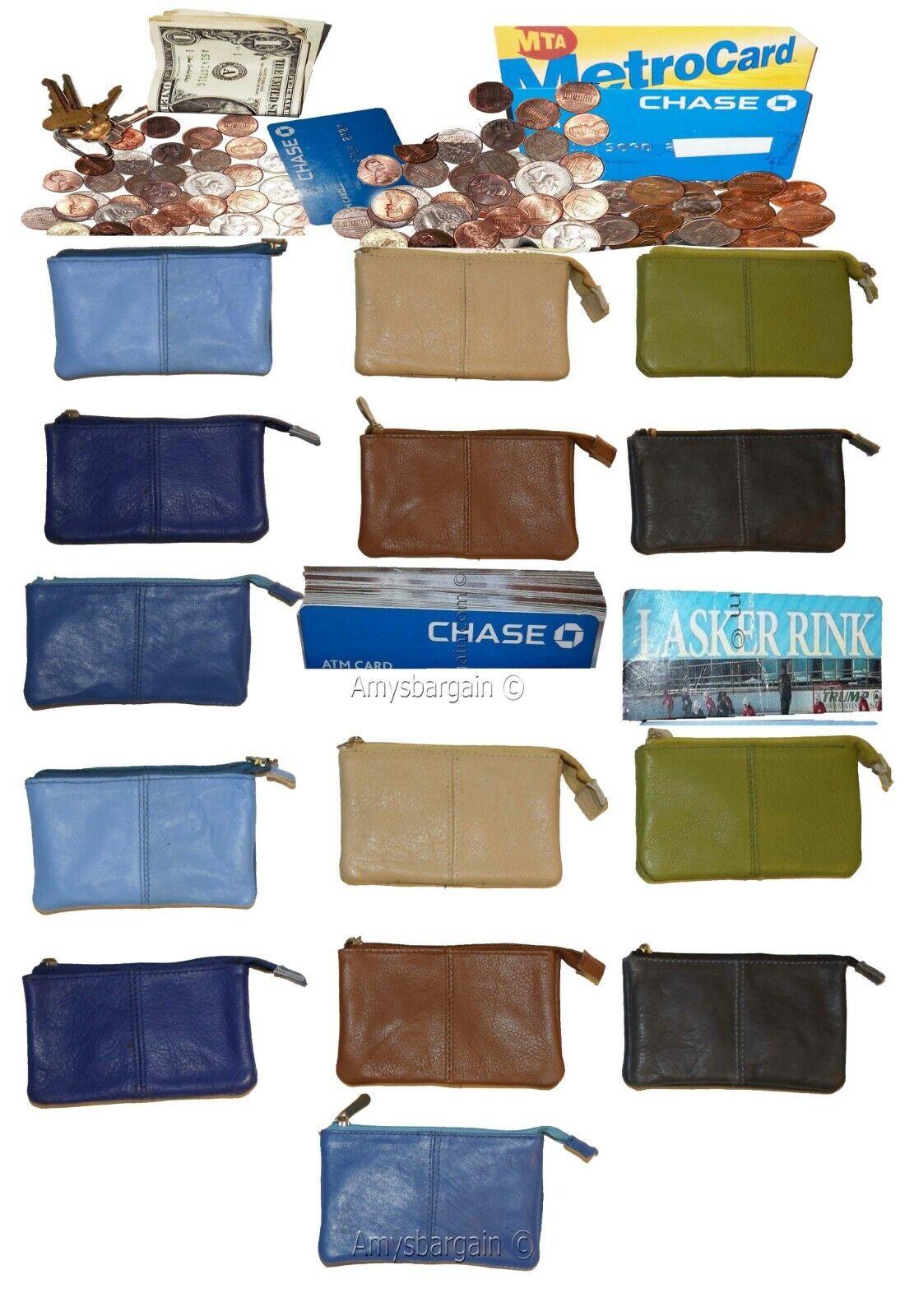 Change Purse, Leather mini wallet, Card case, Zip coin case, key ring zip wallet