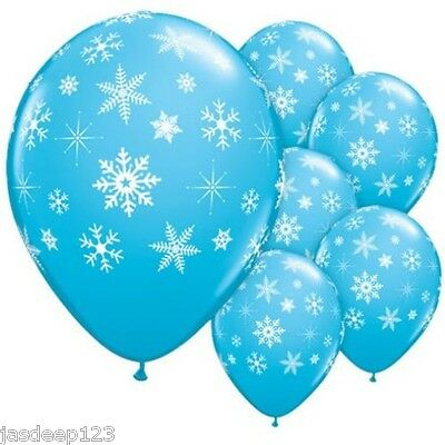 Snowflake Print Latex Blue Balloons Disney Frozen Birthday Party Kids Anna Elsa