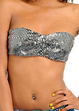 2e69448a22 item 6 Sequin Embellished Bandeau Tube Top Foam Bra Lined Black or Silver  ~XS S M L XL~ -Sequin Embellished Bandeau Tube Top Foam Bra Lined Black or  Silver ...
