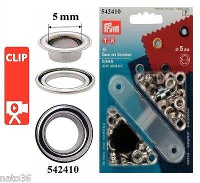 Prym 40 Ösen mit Scheiben 5 mm Farbe silber  Öse Scheibe 542410