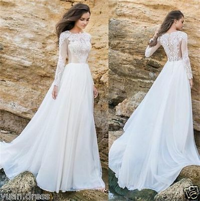Fashion Long Sleeve Wedding Dresses Lace Chiffon Bridal Gown Custom US Size 2 4+