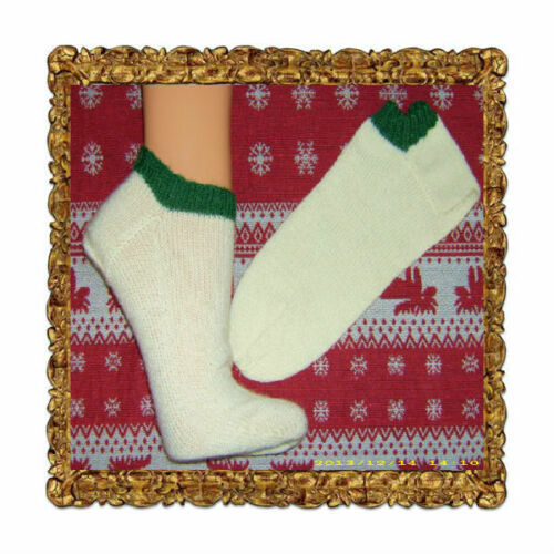 handgestrickt füsslinge loferl calcetines crema con verde talla 36-45 pantalones de cuero