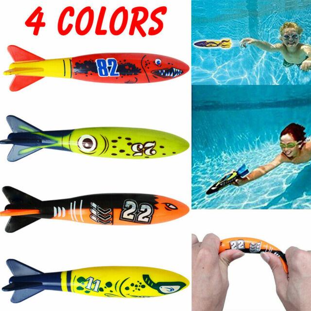 4PCS//Set Diving Torpedo Rocket Swimming Pool Underwater Games Kid Summer Fun Toy