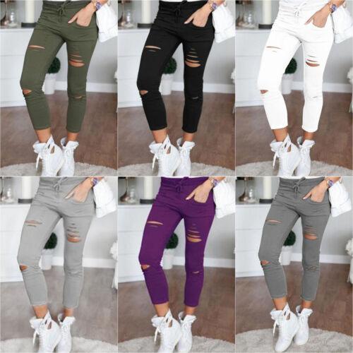 Damen Skinny Stretchy Ripped Hosen Leggings Cropped Freizeit Hochbund Leggins