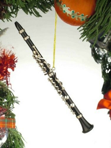 """BLACK CLARINET 7/"""" REALISTIC MUSICAL INSTRUMENT CHRISTMAS ORNAMENT GIFT BOXED"""