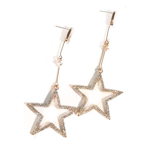 Fiesta Diamante de Imitación Hueco Estrella de cinco puntas colgando pendientes mujer Moda Joyería