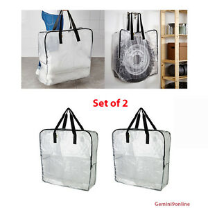 Ikea Reusable Storage Bags Zippered 2 Pk Dimpa Clear Heavy