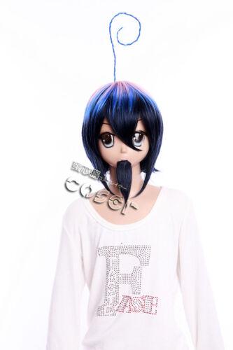 W-352 Blue Exorcist Mephisto Pheles blau pink COSPLAY Perücke Bart WIG Anime