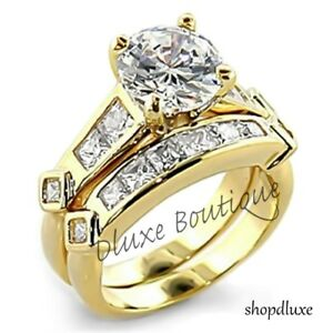 3-15-Ct-Round-Cut-AAA-CZ-14k-GP-Wedding-amp-Engagement-Ring-Set-Women-039-s-Size-5-12