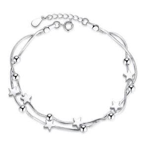 925-Sterling-Silver-Bead-Star-Love-Charm-Linked-Bracelet-Womens-Ladies-Jewellery