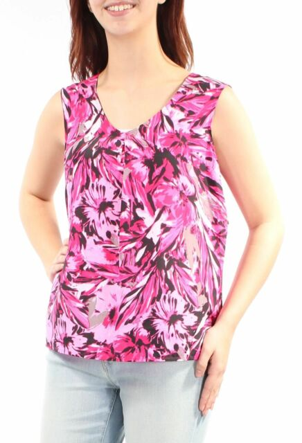 KASPER Women/'s Pink Floral Pleated Sleeveless V Neck Top
