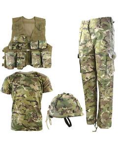 Vestido-De-Fiesta-chicos-Ninos-Ejercito-Traje-Pantalones-camiseta-Chaleco-Casco-Soldado-Elegante-UK