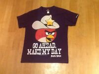 BOYS PURPLE ANGRY BIRDS SHORT SLEEVE T-SHIRT AGE 11 /12 ~ Go Ahead Make My Day