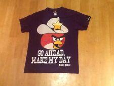 BOYS PURPLE ANGRY BIRDS SHORT SLEEVE T-SHIRT AGE 11 /12 ~ Go Ahead Make My Day