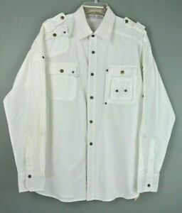 Franky-Max-Men-039-s-Button-Down-Shirt-L-White-Solid-Long-Sleeve-100-Cotton-1001M